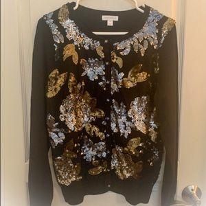 New Charter Club Fall Leaf Sequin Cardigan Size M